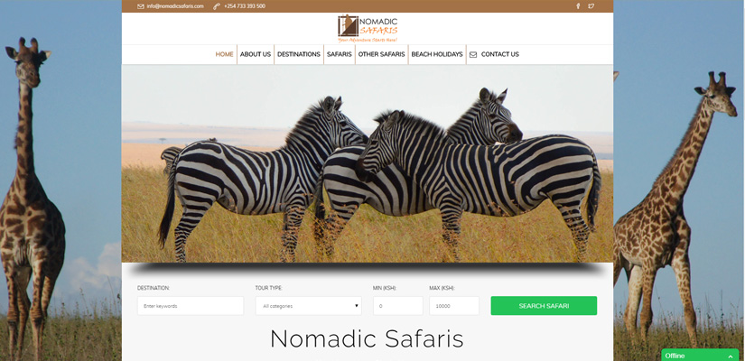 Nomadic Safaris - Tours and Travel Web Design Fix Kenya Limited