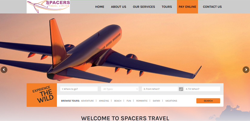 Spacers Travel - Fix Kenya Limited Web Design Clients in Kenya